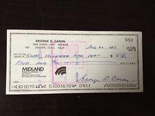GEORGE R CARON - WWII - TAIL GUNNER ON ENOLA GAY - EXCELLENT SIGNED BANK CHEQUE