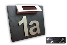 Hausnummer Türschild Edelstahl mit Solar Led und Schiefer in 3D Optik Arial