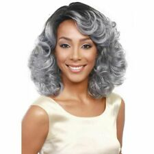 Wigs for Women Medium Long Tousled Curly Wave Lob Gray White Synthetic Hair Bang