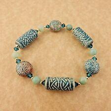 Amazonite gemstones and Swarovski crystal be Celtic Knot Raku beaded bracelet w/