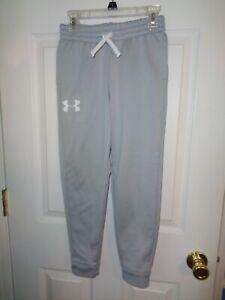 Boys Under Armour Athletic Pants Size YSM Light Gray Pockets Drawstring