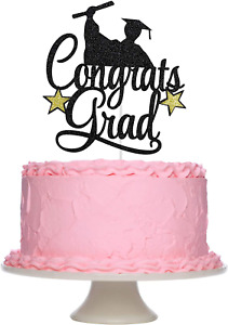 Boys 2021 Graduation Cake Topper, Black Glitter Congrats Grad Graduation Cake To