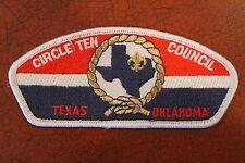 BOY SCOUT CIRCLE TEN COUNCIL SHOULDER PATCH TEXAS & OKLAHOMA GOLD Rope - BSA
