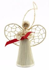 White Red Straw Angel Christmas Ornament Holiday Decoration