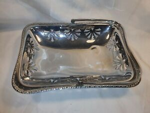Vintage Silver Plated Serving Dish/Basket Lace Effect In Great Condition