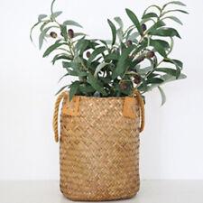 Natural Grass Woven Rattan Wicker Basket Flower Pot Garden Planter Yellow L