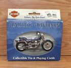 Genuine Harley Davidson Motorcycles Collectible Tin & Playing Cards With Box
