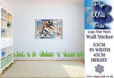 Lego Wall Art Sticker Star Wars 3d Effect Children's bedroom wall decal mural.
