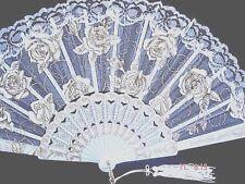WHITE GOLD ROSE LACE HAND FAN DANCE WEDDING BIRTHDAY HEN FANCY WOMEN PARTY - NEW