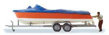 Preiser 33255 Motor Boat for Loaded on Trailer Finshed Model H0