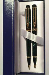 Waterman Man Rhapsody Set Mineral Green Ballpoint Pen & . 7 mm Pencil New In Box