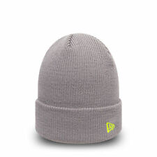 New Era Flag Pop Cuff Branded Knit Beanie Grey Cyber Yellow