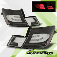 2013 2014 2015 Honda Civic 4DR 4 Door Sedan Black/Clear LED Tail Lights Pair