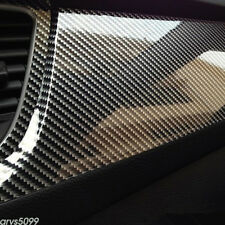 "Car Stickers Carbon Fiber Vinyl 12""x60"" 5D Ultra Shiny Gloss Glossy Wrap Black"