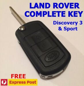 Complete Remote Key for Land Rover Discovery 3 or Sport flip key keyless entry
