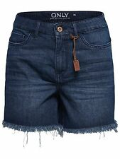 32/8 NEU ONLY Damen Jeans Hose onlPACY HW FRINGE SHORTS W29 highwaist kurz blau