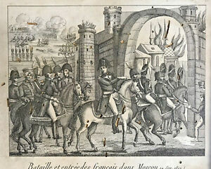 19th Century Engraving | Battle and Entry of the French in Moscow| 1812