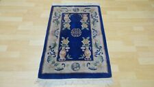 """Chinese Bedside or hearth CARPET RUG HAND MADE Oriental 3FT 4"""" x 2FT"""