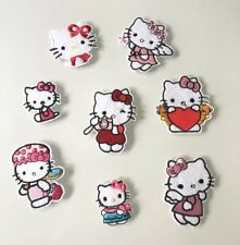 💖PACK LOT 8 PATCH ECUSSON BRODE HELLO KITTY GIRLY ENFANT FILLE THERMOCOLLANT💖