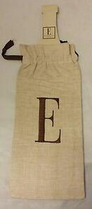 Mud Pie Linen Cloth Wine Bottle Bag Cover Glove Storing Moving Storage Letter E