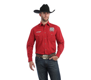 Wrangler® PBR 25th Logo Red Print Long Sleeve Snap Shirt MHS225M