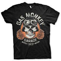 Gas Monkey Garage Skull Flower Blood Sweat Beer Männer Men T-Shirt Schwarz Black