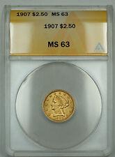 1907 $2.50 Liberty Quarter Eagle Gold Coin ANACS MS-63