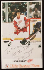 RON DUGUAY SIGNED DETROIT RED WINGS LITTLE CAESARS POST CARD NEW YORK RANGERS NY
