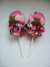 CAMO CAMOUFLAGE GIRL NO SCRATCH MITTEN LOLLIPOPS  BABY SHOWER DIAPER CAKE FAVOR