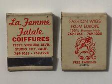 Lot 2 Vtg 50s La Femme Fatale Coiffures Wigs Matchbooks Studio City California