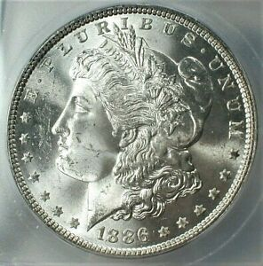 1886 USA Morgan Silver Dollar ICG MS64+ Condition, Blast White KM#110  (843)