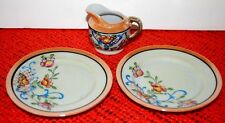 VINTAGE  3 PC.CHILD'S TEA SET CERAMIC * 2 PLATES & CREAMER * LUSTER WITH FLOWERS