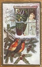A BRIGHT AND JOYOUS CHRISTMAS ROBINS AND CHILD IN WINDOW EMBOSSED POSTCARD 48