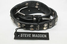 $26 NWT Small STEVE MADDEN Black Leather Rhinestone Studded Wrap Bracelet