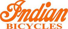 "INDIAN BICYCLE DIE CUT DECAL / STICKER - 8.5"" X 3.75"" - SET OF 2 - ORANGE"