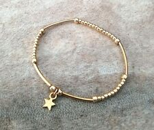 Simple Gold Ball Mini Noodle Beaded Lucky Star Wish Stacker Bracelet Bangle