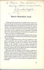 Maurice Maeterlinck vivant Gustave Vanwelkenhuyzen Envoi de l'auteur Dédicace
