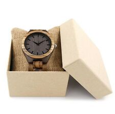 BOBO BIRD D30 Round Vintage Zebra Wood Case Men Watch With Ebony Bamboo wood