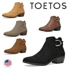 TOETOS Women's Low Block Heel Ankle Boots Side Zipper Cowboy Booties