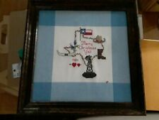 Vintage Texas Embroidered Walnut Framed Picture/Wall Hanging - 1984 w/ symbols