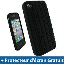 Noir Housse étui silicone pneu pour Apple iPhone 4 4G 16GB 32GB Coque Case Cover