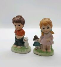 Cute Kitsch Vintage Retro Sweet Boy Girl Children Ceramic Pottery Figurines