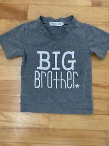 """Floral pig """"Big Brother"""" gray v-neck t- shirt 2-3T"""