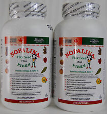 2 Bottles NOPALINA Flax Seed + Fiber 240 Capsules Weight Loss Omega 3,6 & 9