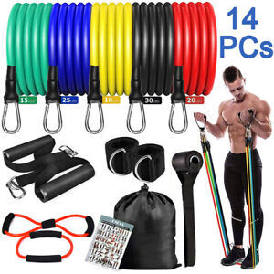 14PCS Set Resistance Bands Workout Exercise Crossfit Fitness Yoga Training Tubes