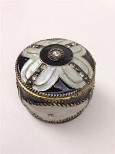 Black & White Enamel with Clear Rhinestones Round Keepsake Trinket Pill Box