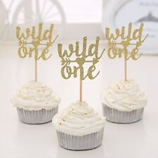Set Of 24 Gold Glitter Wild One Cupcake Toppers Babys First Birthday Decors