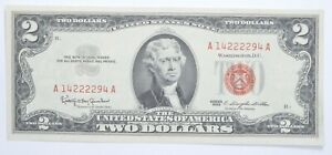 1963 $2 Two Dollar US Red Seal Jefferson Note Bill US Currency Crisp UNC