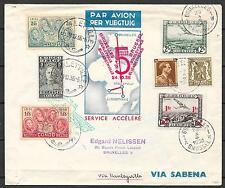 Belgium covers 1936 mixed franked Airmailcover Brussels to Stanleyville