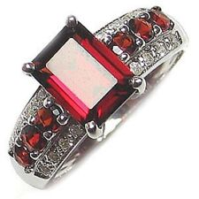 Gold Filled Fashion Engagement Womens Ring Halo Classic Size 11 Red Garnet 18K